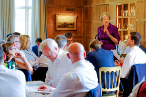 AYLESBURY, ENGLAND - JULY 06: In this handout from the Prime Minister's Office, Prime Minister Theresa May and members of her Cabinet meet at her country retreat Chequers on July 6, 2018 in Aylesbury, England.  (Photo by Joel Rouse - Crown Copyright via Getty Images)