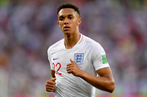 Trent Alexander-Arnold of England looks on during the 2018 FIFA World Cup Russia group G match between England and Belgium at Kaliningrad Stadium on June 28, 2018 in Kaliningrad, Russia.