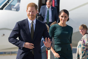 Britain's Prince Harry and his wife Meghan, the Duke and Duchess of Sussex, arrive at Dublin City Airport for a two-day visit to Dublin, Ireland July 10, 2018.  Dominic Lipinski/Pool via REUTERS