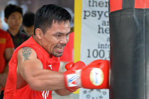 Philippine boxing icon Manny Pacquiao during a training session at a gym in Manila, ahead of his world welterweight boxing championship bout against Argentina's Lucas Matthysse in July.