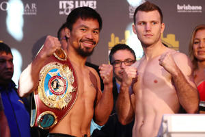 Manny Pacquiao and Jeff Horn face off after the weigh in ahead of the title fight between Jeff Horn and Manny Pacquiao at Suncorp Stadium on July 1, 2017 in Brisbane, Australia.