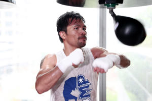 Manny Pacquiao trains at Elorde boxing Gym on May 19, 2017 in Manila, Philippines.