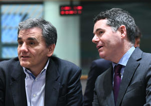 Ireland's Finance Minister Paschal Donohoe (R) and Greece's Finance Minister Euclid Tsakalotos attend a Eurogroup ministers' meeting  in Brussels on March 12, 2018.  / AFP PHOTO / EMMANUEL DUNAND        (Photo credit should read EMMANUEL DUNAND/AFP/Getty Images)