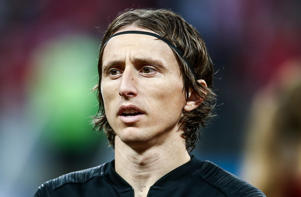 Croatia's Luka Modric in their 2018 FIFA World Cup semi-final match against England at Luzhniki Stadium
