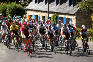 Christopher Froome of Great Britain and Team Sky / Alejandro Valverde of Spain and Movistar Team / Greg Van Avermaet of Belgium and BMC Racing Team in the yellow race leader jersey rides in the peloton during stage five of the 105th Tour de France 2018, a 204,5km stage from Lorient to Quimper on July 11, 2018 in Quimper, France.