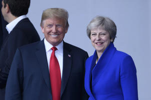 - Sommet de l'OTAN  - Top van de NAVO - NATO Summit  Summit Opening Ceremony (Above and Around Flags)  * Donald Trump * Theresa May  11/07/2018  pict. by Christophe Licoppe  © Photo News via Getty Images)