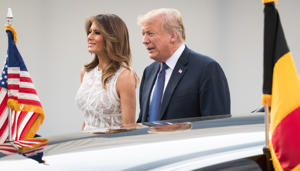 U.S. President Donald Trump  and U.S. first lady Melania Trump at the arrival for a dinner at the Parc du Cinquantenaire - Jubelpark park in Brussels, Belgium July 11, 2018. Picture taken July 11, 2018. Benoit Doppagne/Pool via REUTERS
