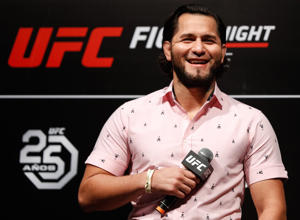 CAPTION: SANTIAGO, CHILE - MAY 18: UFC Men's welterweight fighter Jorge Masvidal of the United States interacts with fans during a Q&A session before the UFC Fight Night weigh-in at Movistar Arena on May 18, 2018 in Santiago, Chile.