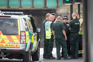 SALISBURY, ENGLAND - JULY 09: Police and other emergency services respond to a incident in Salisbury on July 9, 2018 in Wiltshire, England. Police have launched a murder enquiry after Dawn Sturgess, 44, died after being exposed to the nerve agent Novichok.  In March, Russian former spy Sergei Skripal and his 33-year-old daughter Yulia were poisoned with the Russian-made Novichok in the town of Salisbury. (Photo by Matt Cardy/Getty Images)