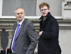 LONDON, ENGLAND - DECEMBER 05: British senior Brexit staff  Stewart Jackson Chief of Staff to Brexit office (L) with Tim Smith (right) leaving Downing Street on December 5, 2017 in London, England. British Prime Minister Theresa May was forced to pull out of a deal with Brussels yesterday after the Democratic Unionist Party (DUP) said it would not accept terms which see Northern Ireland treated differently from the rest of the UK. on 5th December 2017 in London, England. (Photo by Steve Back/Getty Images)