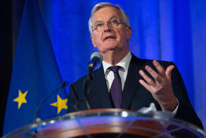 EU Chief Brexit Negotiator Michel Barnier speaks about the Brexit trade negotiations between the UK and EU at the US Chamber of Commerce in Washington, DC, July 11, 2018. (Photo by SAUL LOEB / AFP)        (Photo credit should read SAUL LOEB/AFP/Getty Images)