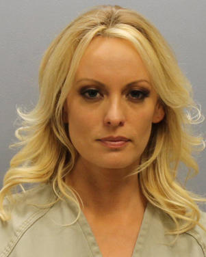 Stormy Daniels, whose real name is Stephanie Clifford, the porn film star who said she had an affair with Donald Trump before he became U.S. president, is shown in this booking photo released by Franklin County Sheriff's Office, Columbus, Ohio, U.S., July 12, 2018.