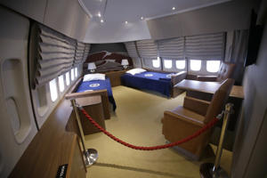"In this Monday, Sept. 18, 2017 photo the presidential bedroom suit is seen in the ""Air Force One Experience,"" a full-sized 747 replica of Air Force One which is now open to the public in North Kingstown, R.I. (AP Photo/Stephan Savoia)"