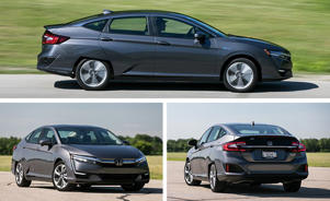 a car parked in a parking lot: Honda Clarity Plug-In Hybrid Tested: Honda's Sci-Fi Future