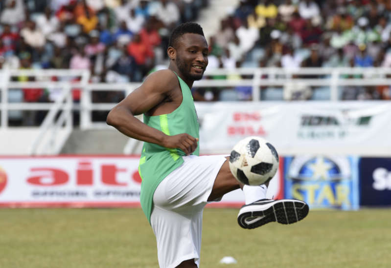 Nigerian player John Mikel Obi trains.