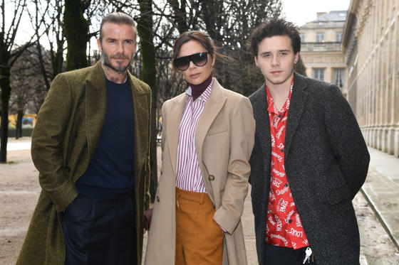 Slide 1 of 38: PARIS, FRANCE - JANUARY 18:  David Beckham, Victoria Beckham and Brooklyn Beckham attend the Louis Vuitton Menswear Fall/Winter 2018-2019 show as part of Paris Fashion Week on January 18, 2018 in Paris, France.  (Photo by Pascal Le Segretain/Getty Images)