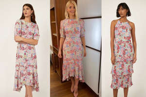 Holly Willoughby et al. posing for the camera: Puff sleeve floral-print dress, £76, Warehouse Shop NowTiered halter floral-print dress, £79, Warehouse Shop Now