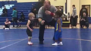 This little athlete may be better at running than wrestling