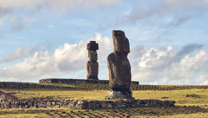 Easter Island with a grassy field