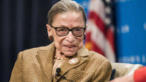Ruth Bader Ginsburg wearing glasses: U.S. Supreme Court Justice Ruth Bader Ginsburg participates in a discussion at the Georgetown University Law Center on February 10, 2020 in Washington, DC. Justice Ginsburg and U.S. Appeals Court Judge McKeown discussed the 19th Amendment which guaranteed women the right to vote which was passed 100 years ago.