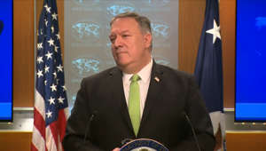 Mike Pompeo wearing a suit and tie: Pompeo: Reports that Steve Linick's firing was retaliatory are 'patently false'