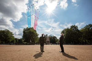 LONDON, ENGLAND - JUNE 18: British Prime minister, Boris Johnson and French President, Emmanuel Macron watch the red arrows and La Patrouille de France fly over Horseguards parade ground to commemorate the appeal of the 18th June speech by Charles De Gaulle on June 18, 2020 in London, England. the  L'Appel du 18 Juin (The Appeal of 18 June) was the speech made by Charles de Gaulle to the French in 1940 and broadcast in London by the BBC. It called for the Free French Forces to fight against German occupation. The appeal is often considered to be the origin of the French Resistance in World War II. President Macron is the first foreign dignitary to visit the UK since the Coronavirus Lockdown began. (Photo by Jack Hill - WPA pool/Getty Images)