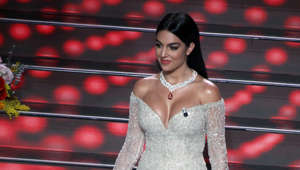 SANREMO, ITALY - FEBRUARY 06, 2020:Argentine model Georgina Rodriguez, partner of Portuguese soccer star Cristiano Ronaldo, walks on stage at the Ariston theatre during the 70th Sanremo Italian Song Festival in Sanremo- PHOTOGRAPH BY Marco Ravagli / Barcroft Media (Photo credit should read Marco Ravagli/Barcroft Media via Getty Images)