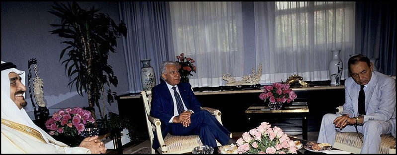 Hassan II, le roi Fahd d'Arabie Saoudite et le président algérien Bendjedid Chadli. / Ph. Driss Benyatouille