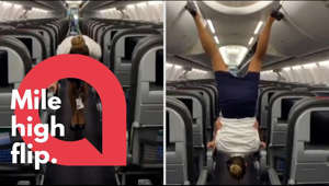 This flight attendant shows off her remarkable acrobatic skills to close the overhead bins with her feet - while wearing high heels. Lindsey O'Brien, 35, gripped onto the armrests before flipping upside down and using her feet to close four luggage containers above. She twirled back down to the aisle and lifted her arms in triumph as her fellow crew members cheered her on. The video was filmed in June aboard an aircraft which had been grounded in her home city of Philadelphia, Pennsylvania, due to Covid-19.  ** This content is being managed by SWNS. To licence for editorial or commercial use please contact liceansing@swns.com 0117 9066550**  Subscribe to our channel to be the first to see our viral, breaking news videos. Twitter.com/swns Instagram.com/swns