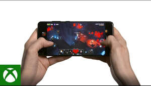 a hand holding a cellphone: Play Minecraft Dungeons with touch controls enabled on your Android mobile phone or device from the cloud (Beta) with Xbox Game Pass Ultimate. Available from September 15, 2020.  Minecraft Dungeons will be the first title to offer touch controls for our September 15 Beta launch. The Xbox Game Pass Ultimate team will continue to work with developers to add touch controls to even more titles post-launch.   Join Xbox Game Pass Ultimate and learn more:  https://www.xbox.com/xbox-game-pass/cloud-gaming  If you are an Xbox Game Pass Ultimate member, download the app from the Samsung Galaxy Apps Store, One Store, or Google Play Store.  Subscription required. Streaming limits apply. Cloud gaming (beta) catalog varies over time; available in select regions and devices. See https://www.xbox.com/xbox-game-pass