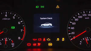 a screen shot of a clock: Our guide to dashboard warning lights