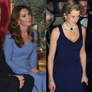 Catherine, Duchess of Cambridge, Diana, Princess of Wales posing for the camera: Eagle-eyed Royal fans may have spotted that it appears Kate Middleton has transformed her late mother-in-laws earrings into an earring and necklace set. During a meeting with the President of Ukraine and First Lady Оlena, the Duchess of Cambridge paired her Gabriela Hearst blue dress with the reworked pieces that were gifted to her from husband William in 2010.The earrings were originally a wedding gift to Princess Diana from Crown Prince Fahd of Saudi Arabia on her wedding day in 1981, and the mother-of-two went on to wear them multiple times since, seemingly proving them a favourite of Lady Diana Spencer's.