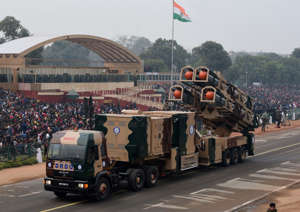 NEW DELHI, INDIA - JANUARY 23: DRDO Nirbhay missile passes through the saluting base at Rajpath during the full dress rehearsal for the Republic Day Parade on January 23, 2018 in New Delhi, India. (Photo by Mohd Zakir/Hindustan Times via Getty Images)
