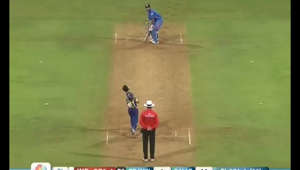 a screenshot of a video game: Dhoni finishes off in style! As the former India captain retires from international cricket 16 years after making his debut, a look back at his winning six from the ICC Men's Cricket World Cup 2011 final.