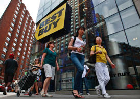<p>Best Buy Co Inc. reported a 4 percent drop in quarterly revenue due to lower traffic in its stores.</p>