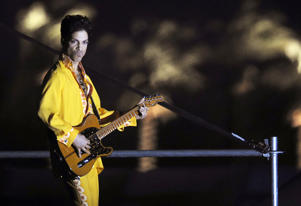 Prince performs during the second day of the Coachella Valley Music and Arts Festival in Indio, Calif., on April 26, 2008.