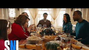 a group of people sitting at a table with food: There's only one thing that can keep a family (Beck Bennett, Jay Pharoah, Cecily Strong, Aidy Bryant, Matthew McConaughey, Kate McKinnon, Vanessa Bayer) from fighting at Thanksgiving: Adele. [Season 41, 2015]  #SNL #ThankfulforSNL  Subscribe to SNL: https://goo.gl/tUsXwM Stream Current Full Episodes: http://www.nbc.com/saturday-night-live  Watch Past SNL Seasons:  Google Play - http://bit.ly/SNLGooglePlay  iTunes - http://bit.ly/SNLiTunes  Follow SNL Social - SNL Instagram: http://instagram.com/nbcsnl  SNL Facebook: https://www.facebook.com/snl SNL Twitter: https://twitter.com/nbcsnl SNL Tumblr: http://nbcsnl.tumblr.com/ SNL Pinterest: http://www.pinterest.com/nbcsnl/