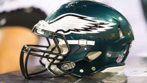 a close up of a helmet: Aug 10, 2017; Green Bay, WI, USA; A Philadelphia Eagles helmet during the game against the Green Bay Packers at Lambeau Field.