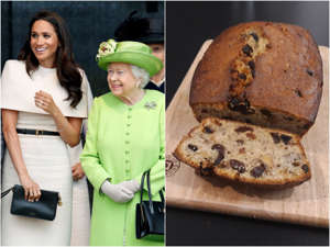 Meghan Markle, Elizabeth II that are on a cutting board with a cake:  I made banana bread using two recipes which have been favored by the Queen and Meghan Markle. The monarch's recipe - provided by former royal chef Darren McGrady - featured cherries, walnuts, and raisins. In my opinion, it would have been even better without the cherries, which seemed to overpower the banana flavor. Markle's recipe included chocolate and ginger, which complimented the banana perfectly. Visit Insider's homepage for more stories. The Queen's former chef Darren McGrady shared the recipe for Her Majesty's banana bread recipe back in October.The recipe, featuring cherries, walnuts, and raisins instantly struck me as unusual, as these ingredients are what you would usually find in a traditional fruit cake rather than banana bread.But then, the royals are known for doing things differently when it comes to food. I remembered reading about the Duchess of Sussex's banana bread recipe, which she served at a royal engagement during her tour of Australia in 2018.Her secret ingredients included chocolate chips and ginger, according to a royal correspondent who was at the event.The Queen and Markle's recipes seemed completely different, so I decided to make them both and compare.Read the original article on Insider