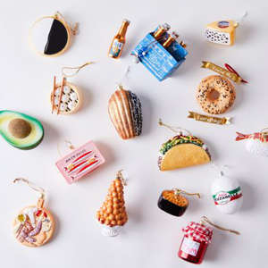 a group of items on a table: Vintage-Inspired Food Ornaments