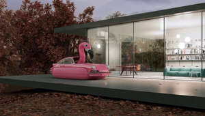 a close up of a pink building: Dream scenes with the Porsche 911: for Scottish CGI artist Chris Labrooy, the design classic has become a muse. Via his computer, he transforms the sports car with curious costumes, adds a splash of poolside color, experiments with architecture and sends it flying through space and time to challenge every traditional take on Porsche's most iconic car. His Palm Springs-flavoured animations are a magical and mind-bending homage to the sports car legend.