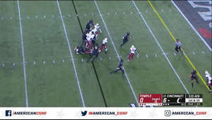 Michael Warren II ran 13 yards for a touchdown on a cold, raw Saturday night, and Cincinnati held on for a 15-13 victory over Temple that clinched a spot in The American title game.