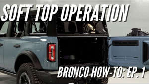 a car parked in front of a truck: The much anticipated Soft-Top operation and removal video is here! Watch was Jon Melton demonstrates the opening, operation, and removal of the soft-top available on the 2021 Ford Bronco 4-Door.  0:27 - Removing Side Panels 1:30 - Easy-Load Feature 1:50 - Removing Rear Panel 2:30 - Opening Positions 4:05 - Removing The Soft-Top  ----------------------------------------------------------------------------------------------------------------------- Stay up to date on all Bronco News : https://community.TheBroncoNation.com  Follow Us! Instagram: https://www.instagram.com/thebronconation Facebook: https://www.facebook.com/thebronconation  #bronconation #fordbronco #offroad #adventure