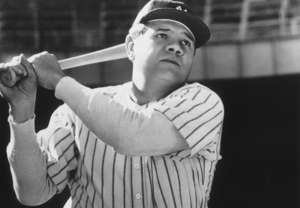 Babe Ruth holding a baseball bat: To this day, Babe Ruth is one of the most-famous baseball players in the world. If you ask a random person to name five baseball players, there's a good chance that Ruth will get mentioned. You could make the argument for him being the greatest player ever. He was maybe the first true celebrity the sport birthed. The life of one George Herman Ruth wasn't always glorious, but a look back at his career is full of iconic moments and incredible accomplishments.
