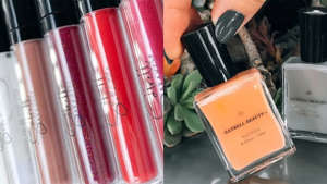Shop lip glosses and nail polishes from Satrell Beauty.