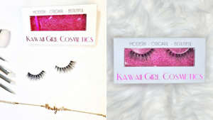 text, letter: Find your perfect pair of false eyelashes from Kawaii Girl Cosmetics.