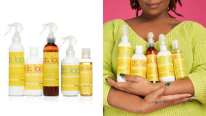 a woman holding a bottle: Take care of your dreadlocks with products from Dr. Locs.