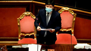 Italy's Health Minister Roberto Speranza addresses lawmakers on new coronavirus restrictions on January 13, 2021 at the Chamber of Deputies in Rome. - Italy's health minister announced on January 13, 2021 a partial reopening of museums, while most other coronavirus restrictions were due to be extended. Italy, which has recorded nearly 80,000 deaths from the pandemic, has had colour-coded regional virus restrictions since November, when all the museums were shut. (Photo by Filippo MONTEFORTE / AFP) (Photo by FILIPPO MONTEFORTE/AFP via Getty Images)