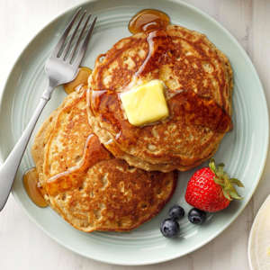 a plate of food on a table: Brown Sugar Oatmeal Pancakes Exps Ghbz18 3290 B08 08 2b 3