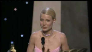 "Gwyneth Paltrow posing for the camera: Jack Nicholson presenting Gwyneth Paltrow with the Best Actress Oscar® for her performance in ""Shakespeare in Love"" at the 71st Academy Awards® in 1999."